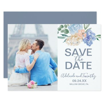 Wedding Themed Dusty Blue Florals Photo Save the Date Card