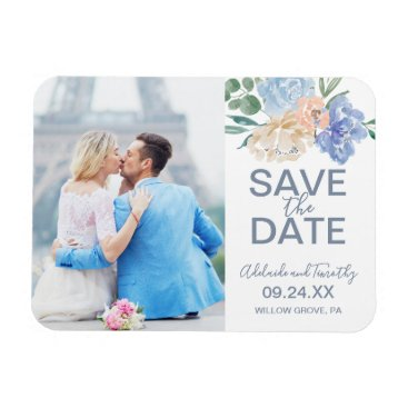 Wedding Themed Dusty Blue Florals Photo Save the Date Magnet