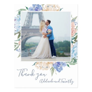 Wedding Themed Dusty Blue Florals Photo Thank You Postcard