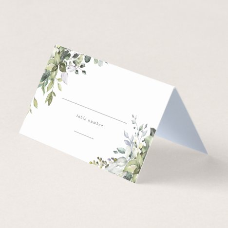 Dusty Blue Florals Place Card