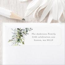 Dusty Blue Florals Return Address Label