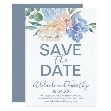Wedding Themed Dusty Blue Florals Save the Date Card