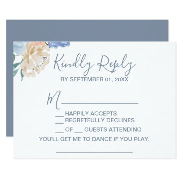 Wedding Themed Dusty Blue Florals Song Request RSVP Card