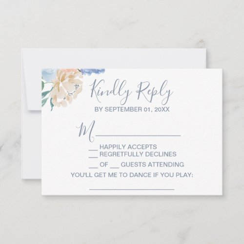 Dusty Blue Florals Song Request RSVP Card