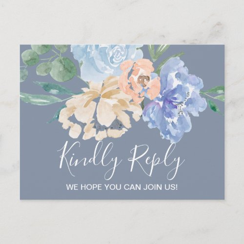 Dusty Blue Florals Song Request RSVP Postcard