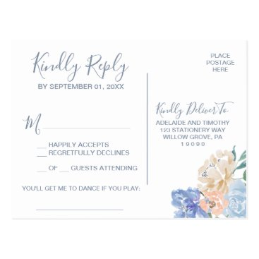 Wedding Themed Dusty Blue Florals Song Request RSVP Postcard