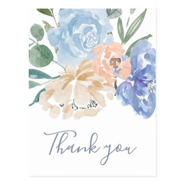 Wedding Themed Dusty Blue Florals Thank You Postcard