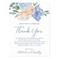 Dusty Blue Florals Thank You Reception Card