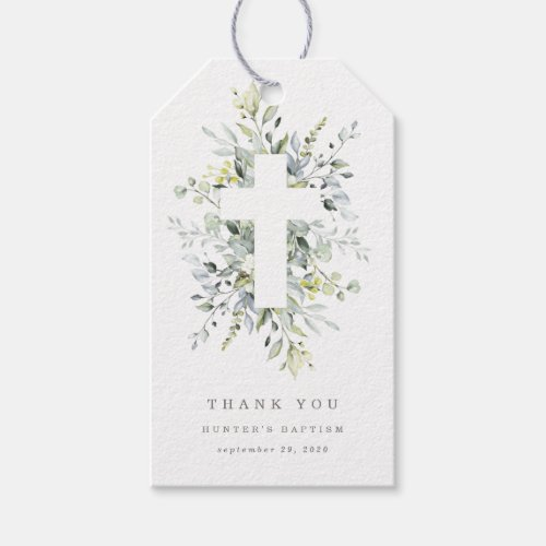 Dusty Blue Florals Thank You Tag