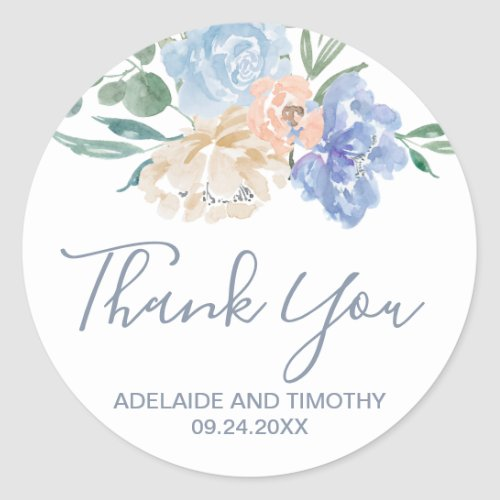 Dusty Blue Florals Thank You Wedding Favor Classic Round Sticker