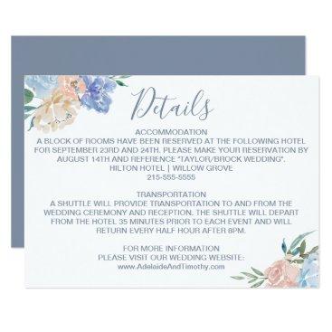 Wedding Themed Dusty Blue Florals Wedding Details Card