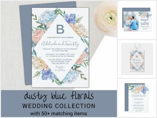dusty blue florals wedding collection, wedding invitation with backing, save the date card, welcome sticker