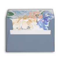 Dusty Blue Florals Wedding Invitation Envelope