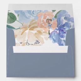 Dusty Blue Florals Wedding Invitation Envelope