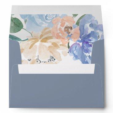 Wedding Themed Dusty Blue Florals Wedding Invitation Envelope