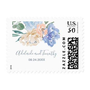 Bride Themed Dusty Blue Florals Wedding Invitation Postage