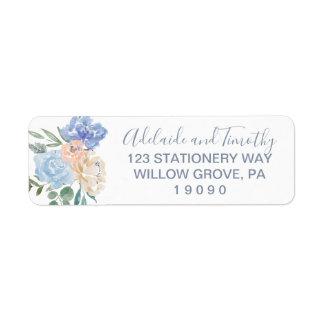 Dusty Blue Florals Wedding Label