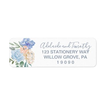 Bride Themed Dusty Blue Florals Wedding Label