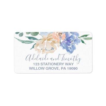 Wedding Themed Dusty Blue Florals Wedding Label