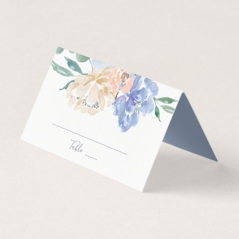Dusty Blue Florals Wedding Place Card