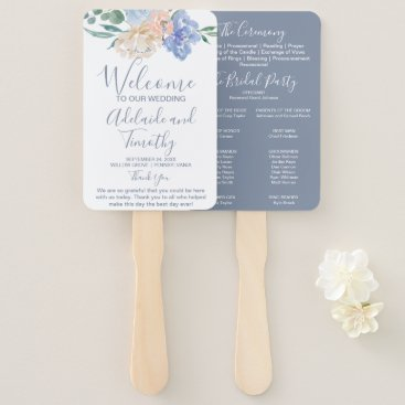 Wedding Themed Dusty Blue Florals Wedding Program Hand Fan