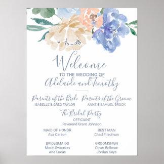 Dusty Blue Florals Wedding Program Poster