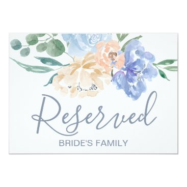 Bride Themed Dusty Blue Florals Wedding Reserved Sign Card