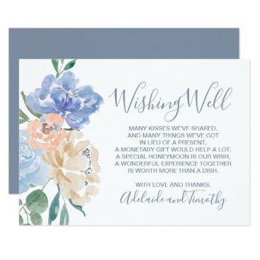 Wedding Themed Dusty Blue Florals Wedding Wishing Well Card