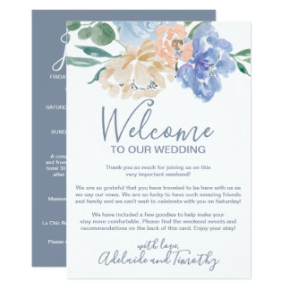 Dusty Blue Florals Welcome Letter & Itinerary Card