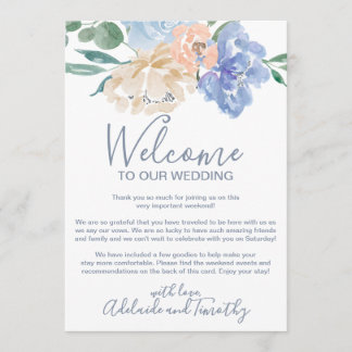 Dusty Blue Florals Welcome Letter & Itinerary Program