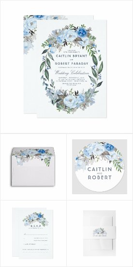 Dusty Blue Flowers Wreath Wedding Invitation Set