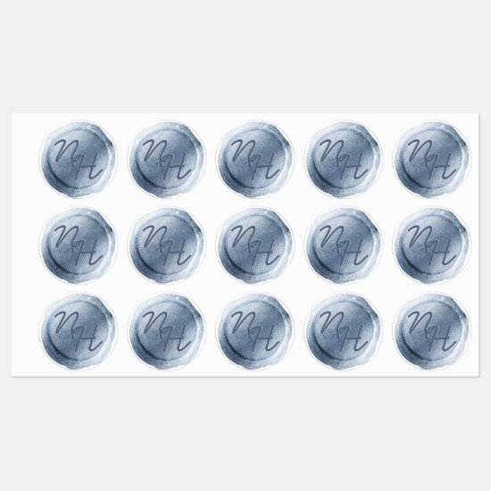 Dusty Blue Foil Wax Seal Initials Wedding Monogram Labels