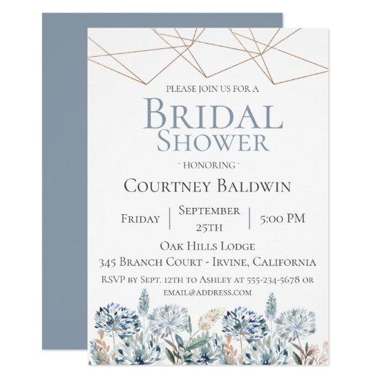 Dusty Blue Geometric Bridal Shower Invitation