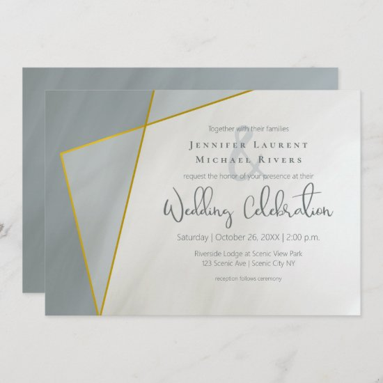 dusty blue geometric typography wedding invitation