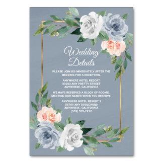 Dusty Blue Gold Blush Peach Wedding Insert Cards