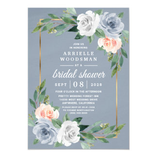 Dusty Blue Gold Blush Pink Peach Bridal Shower Invitation