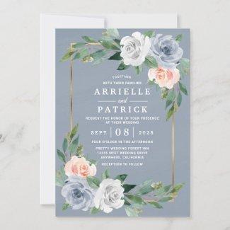Dusty Blue Gold Wedding Invitation, Blush Pink Peach Floral