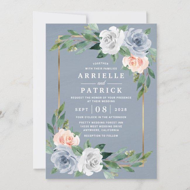 Dusty Blue Gold Blush Pink Peach Floral Wedding Invitation