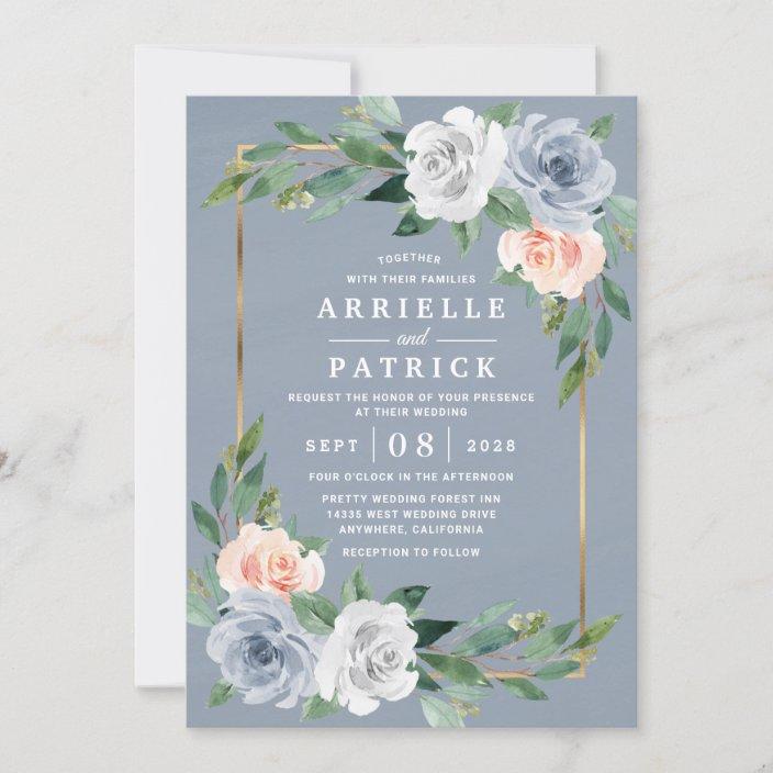 Grey /& Peach Floral Wedding Invitations