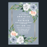 "Dusty Blue Gold Blush Pink Peach Floral Wedding Invitation<br><div class=""desc"">Dusty Blue Gold Blush Pink Peach Floral Wedding Invitations - design features a watercolor dusty blue background with a printed gold frame trimmed in eucalyptus and greenery with floral elements in gray/white,  dusty blue and blush pink/peach.  View the collection on this page to find matching products.</div>"