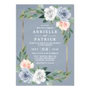 Dusty Blue Gold Blush Pink Peach Floral Wedding Invitation at Zazzle