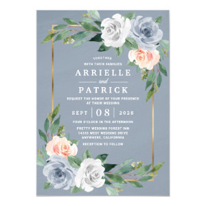 Dusty Blue Gold Wedding Invitation, Blush Pink Peach Floral