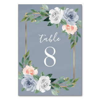 Dusty Blue Gold Blush Pink Peach Floral Wedding Table Number