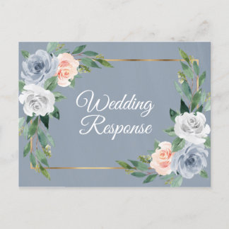 Dusty Blue Gold Blush Pink Peach Wedding RSVP Invitation Postcard