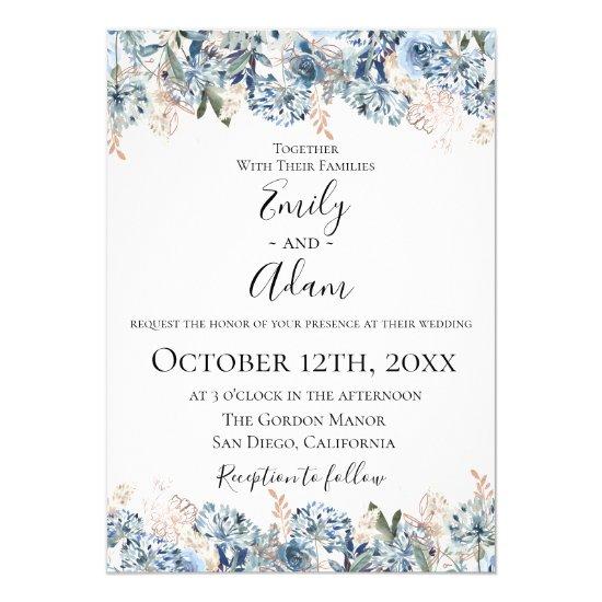 Dusty Blue Golden Botanical Wedding Invitation
