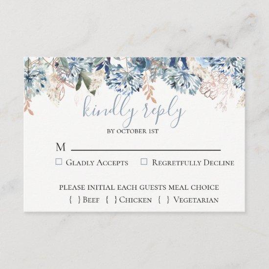 Dusty Blue Golden Botanical Wedding RSVP Card