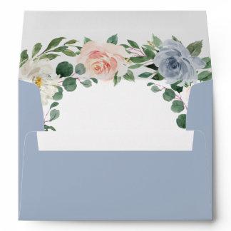 Dusty Blue Gray Blush Pink Peach Floral Wedding Envelope