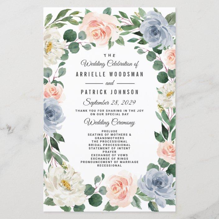 blush floral wedding programs blush and gray wedding ceremony wedding program floral watercolor programs printed wedding programs