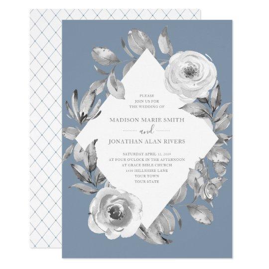 Dusty Blue Gray Fl Diamond Wedding Invitation