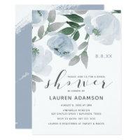 Dusty Blue & Gray Watercolor Bridal Shower Invitation
